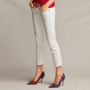 CAbi Slim Boyfriend White Embroidered Jeans, Sz 6